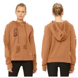 NEW ALO Yoga Distressed Ripped Henna Hoodie